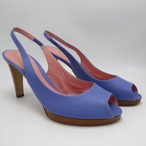 Sergio Rossi Slingback Peep Toe Platform Heels